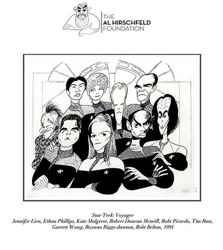 Al Hirschfeld Deep Space Nine cast drawing