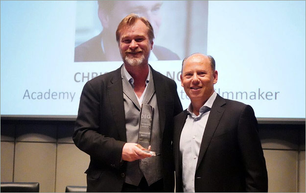 Director Christopher Nolan (left) and WBHE President Ron Sanders (right)