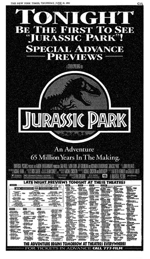 Newspaper ad for Jurassic Park