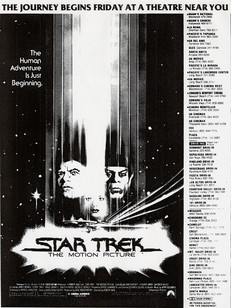 Newspaper ad for Star Trek: The Motion Picture
