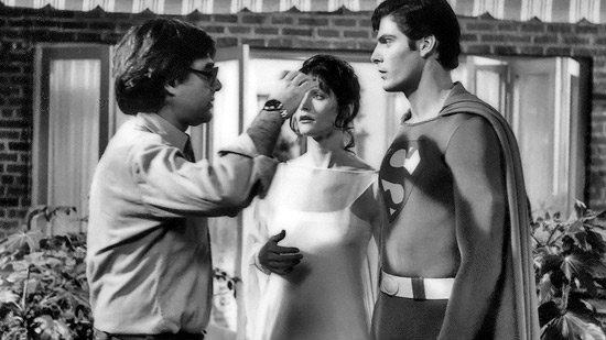 Richard Donner, Margot Kidder, and Christopher Reeve on the set of Superman