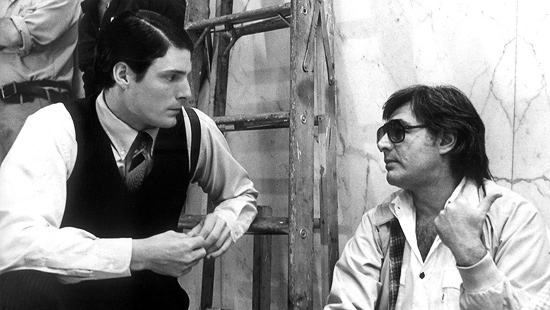 Christopher Reeve and Richard Donner on the set of Superman