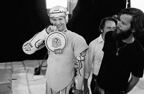 Jeff Bridges on the set of Tron