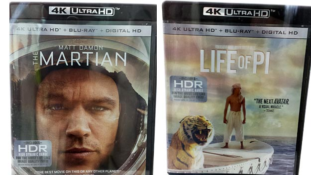 Mock-up UHD BD packaging for Fox's The Martian & Life of Pi