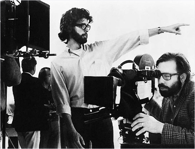 Director George Lucas and producer Francis Ford Coppola in the set of THX 1138